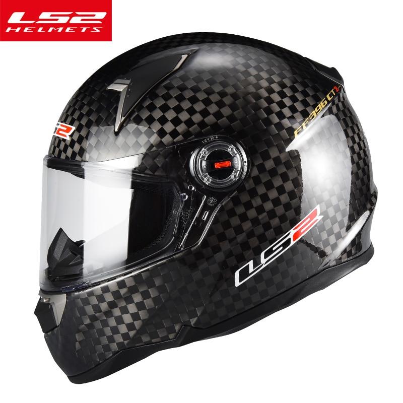 Genuine LS2 FF396 Fibra De Carbono moto rcycle Capacete de corrida Rosto Cheio Capacetes de moto rbike lente dupla viseira do capacete de moto
