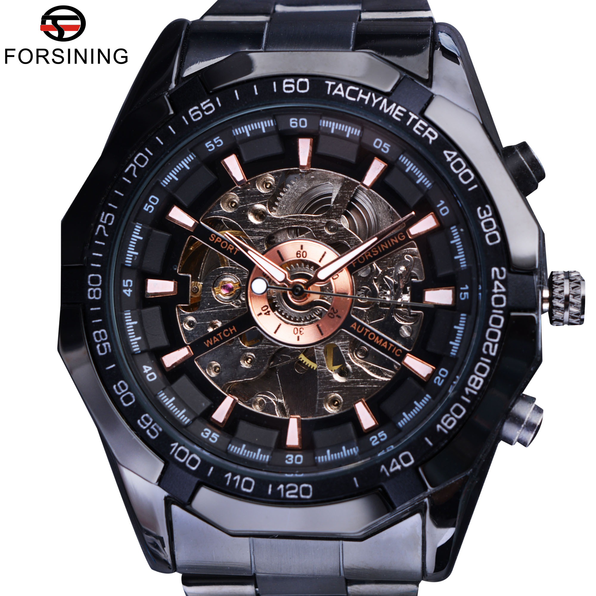 Forsining Sport Racing Design Skeleton Stainless Steel Black Golden Dial Top Brand Luxury Watches Men Wristwatch Automatic WatchForsining Sport Racing Design Skeleton Stainless Steel Black Golden Dial Top Brand Luxury Watches Men Wristwatch Automatic Watch