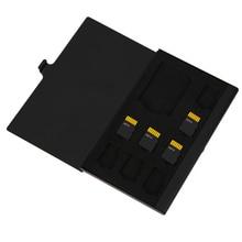 Карты памяти случае монослоя Алюминий 1SD + 8TF Micro SD карты памяти Дело Pin-коробка для хранения Чехол держатель Micro SD держатель для карт Новый