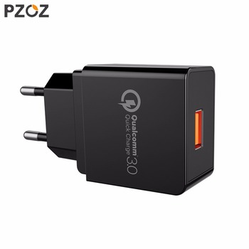 PZOZ Quick Charge 3.0 USB Charger Fast Charger 18W EU Wall usb portable charger Adapter Mobile Phone cable for Samsung Xiaomi