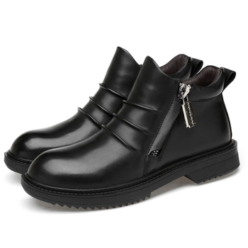 British fashion men large size martin ankle boots autumn winter snow boot warm fur sneaker genuine leather genuine leather shoes