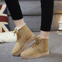 Brand Women Snow Boots Warm Winter Suede Boots Botas Mujer Lace Up Fur Ankle Boots Flat
