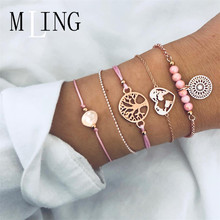 MLING 5 Pcs/Set newest Tree of Life Gray Pearl World Map Beads Chain Hollow Flower Bracelet For Women Adjustable Jewelry Gifts цена и фото