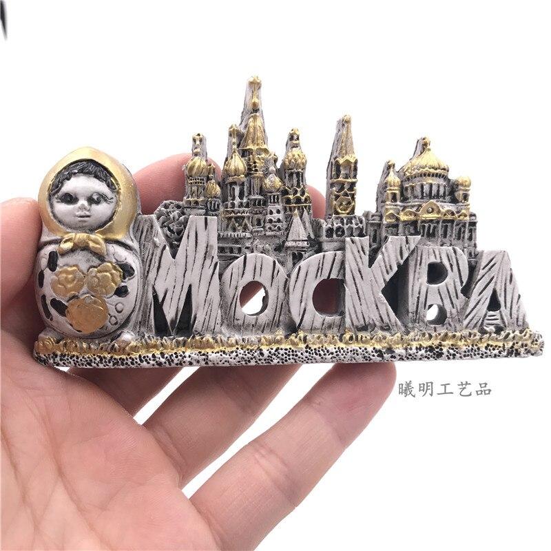 3D Resin Russia Fridge Magnet Moscow Mockra Decorative Refrigerator Magnets Sticker Tourist Travel Souvenir GIFT IDEA