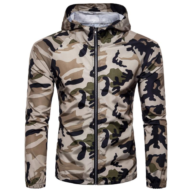 2018 Fashion Men Slim Camouflage Jacket Casual Hooded Long Sleeve Zipper Coat M-XXL