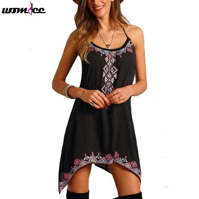 Новинка 2017 года женские пикантные летние женские спагетти ремень мини-платье туника женщины с принтом без рукавов для вечеринок летние пляжные свободные короткие