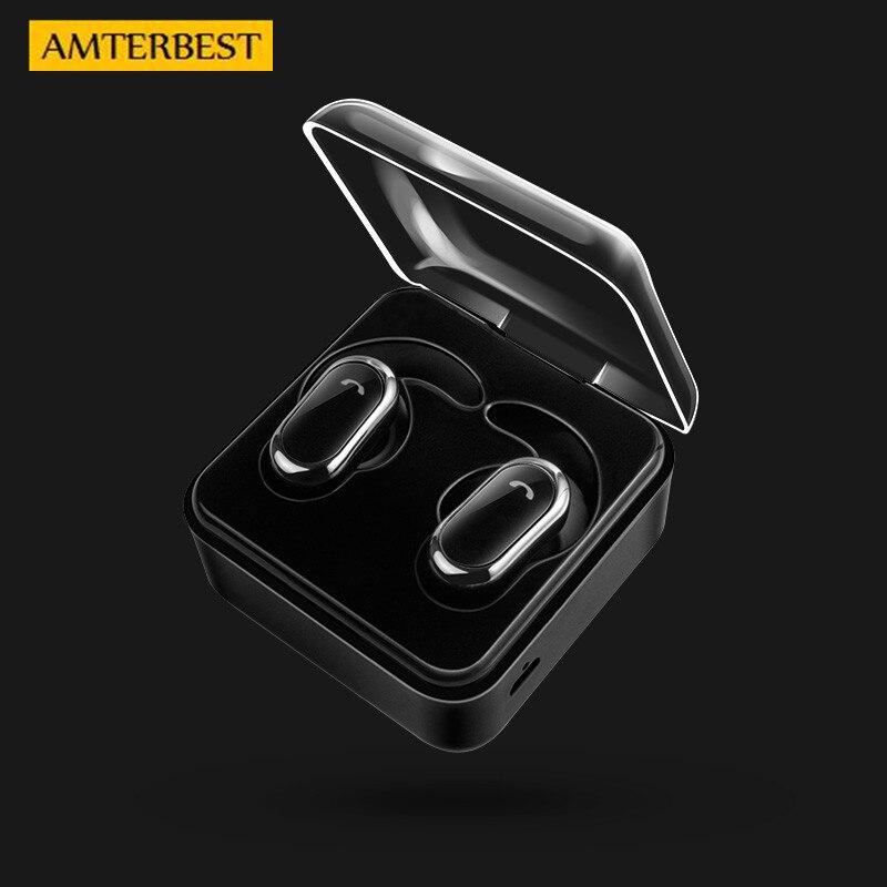 AMTERBEST Portable Sans Fil Écouteurs TWS Écouteur Étanche Bluetooth Casque Stéréo Casque avec Boîte De Charge Mains Libres Appels