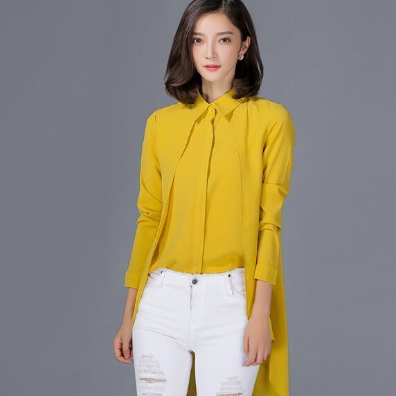 16faac71e39 Yellow Blouse Shirt Women Chiffon Blusas 2018 New Long Sleeve Fake Two  Piece Shirts Women Tops Clothing AH342