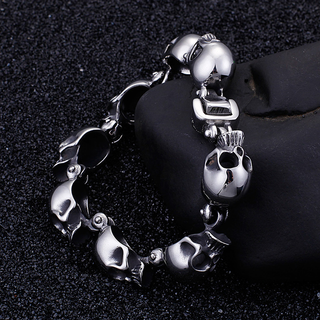STAINLESS STEEL PUNK ROCK SKULL BRACELET