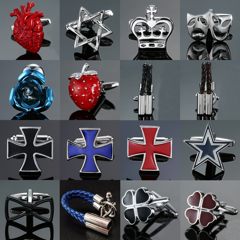 high-end French shirt Cufflinks jewelry luxury design Leather rope Cross Rose Strawberry red black blue Cuff links Men's