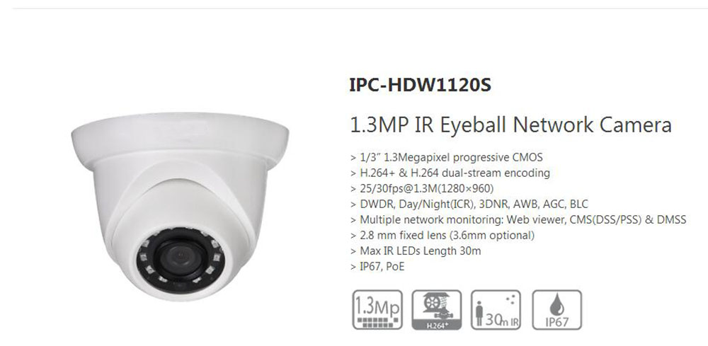 Free Shipping DAHUA 1.3MP Full HD Small IR Eyeball Camera with POE IP67 Original English Version without Logo IPC-HDW1120S free shipping dahua cctv camera 4k 8mp wdr ir mini bullet network camera ip67 with poe without logo ipc hfw4831e se