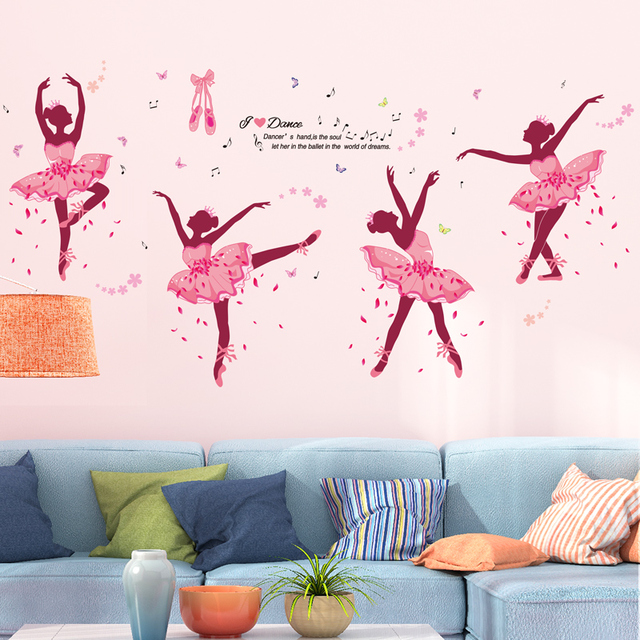 [SHIJUEHEZI] Ballet Dancers Girl Wall Stickers DIY Butterflies Mural Decals for Dance Studio Kids Room Baby Bedroom Decoration