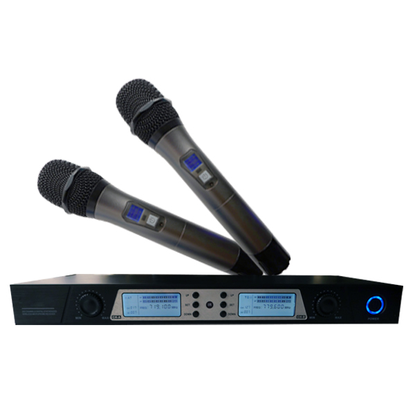 UHF double channels metal handheld professional ktv wireless microphone  LCD IR paring 200CH frequency optional conference mike