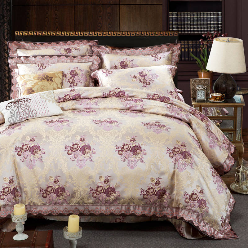 Romantic Bedspreads King Size Jacquard Embroidery cotton silk Bedding Sets satin comforter quilt cover 4/5pc bed linens coverlet
