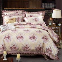 romantic bedspreads king size jacquard embroidery cotton silk bedding sets satin comforter quilt cover 4