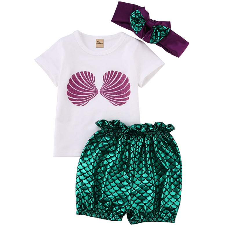 3Pcs Toddler Kids Girls Mermaid Hoodie Tops Pants Leggings Outfits Set Clothes