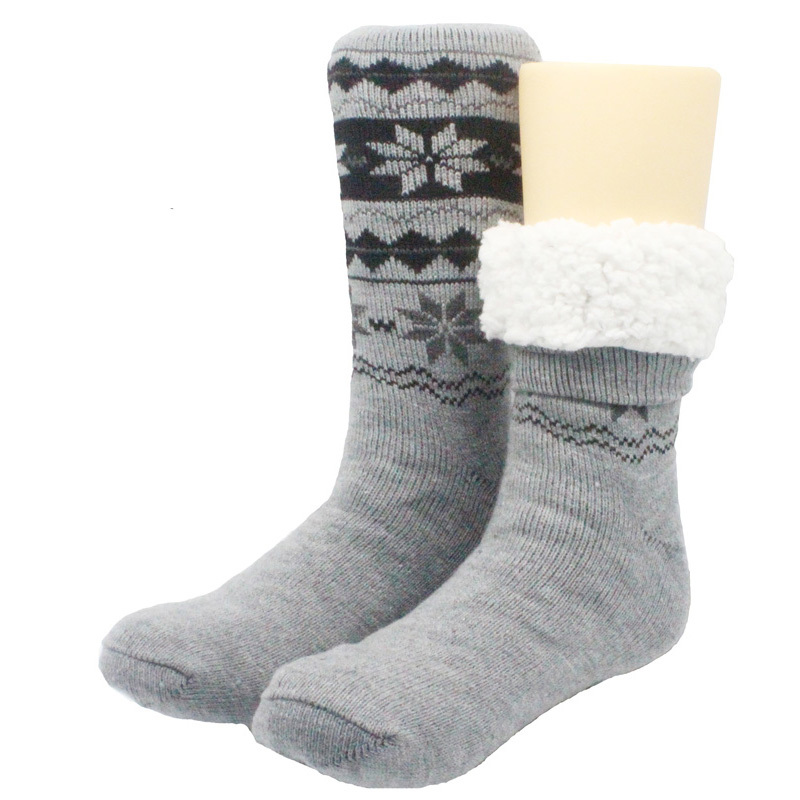 Skinfullysweet New Long Floor Socks Home Slipper Man Winter Warm Fuzzy Anti-Skid Lined Indoor Floor  Socks Christmas Socks