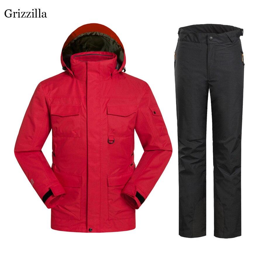 Grizzilla Для мужчин лыжный костюм 2017 русская зима супер теплый Лыжный Спорт сноуборд куртка + брюки костюм ветрозащитный Водонепроницаемый кур