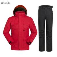Grizzilla Men Ski Suit 2017 Russian Winter Super Warm Skiing Snowboard Jacket Pants Suit Windproof Waterproof