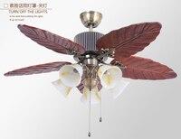 Светильник потолочный вентилятор европейские антикварные Ресторан оставляет 48 дюймов потолочный вентилятор свет