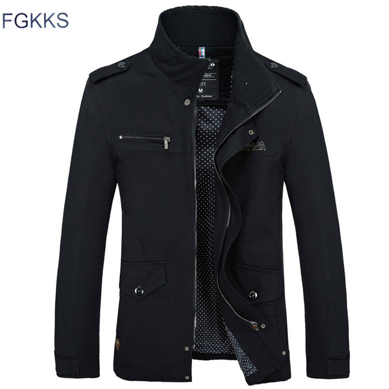 FGKKS Brand Men Jacket Coats Fashion Trench Coat New Autumn Casual Silm Fit Overcoat Black Bomber Jacket Male