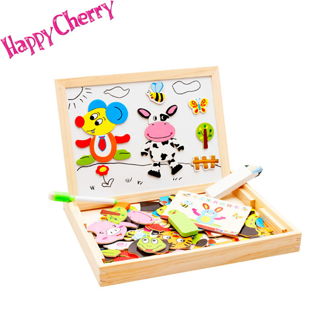 Happy Cherry Colourful Wooden Animal Magnetic Puzzle Sketchpad Drawingboard Wood Toys Educational Toys for Baby Kids
