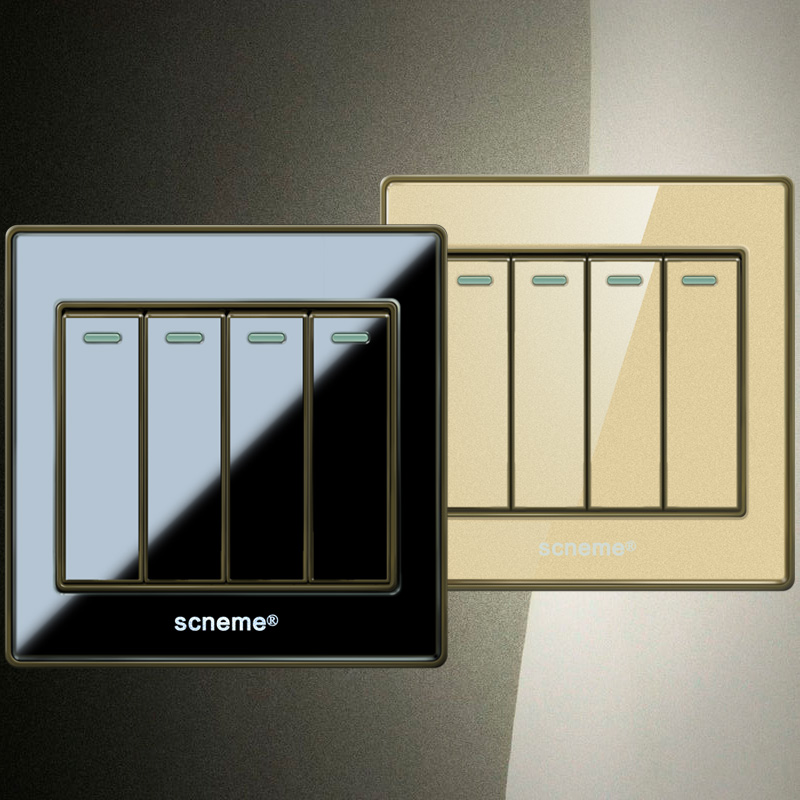 UK standard Push button switch, Black/Gold Crystal Acrylic Panel Wall Swtich, 4Gang 1way Light Switch, Free Shipping