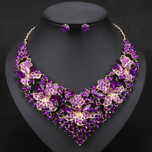 Fashion Trendy Nigerian Wedding African Beads Jewelry Sets, Crystal Necklace Earrings Set Wedding Party Jewelry Set