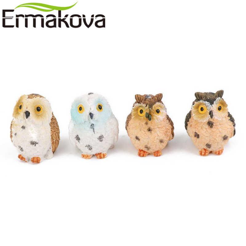 ERMAKOVA Resin Mini Owl Miniature Animal Figurine Owl Craft Landscape Fairy Garden Bonsai Plant Garden Terrarium Decor