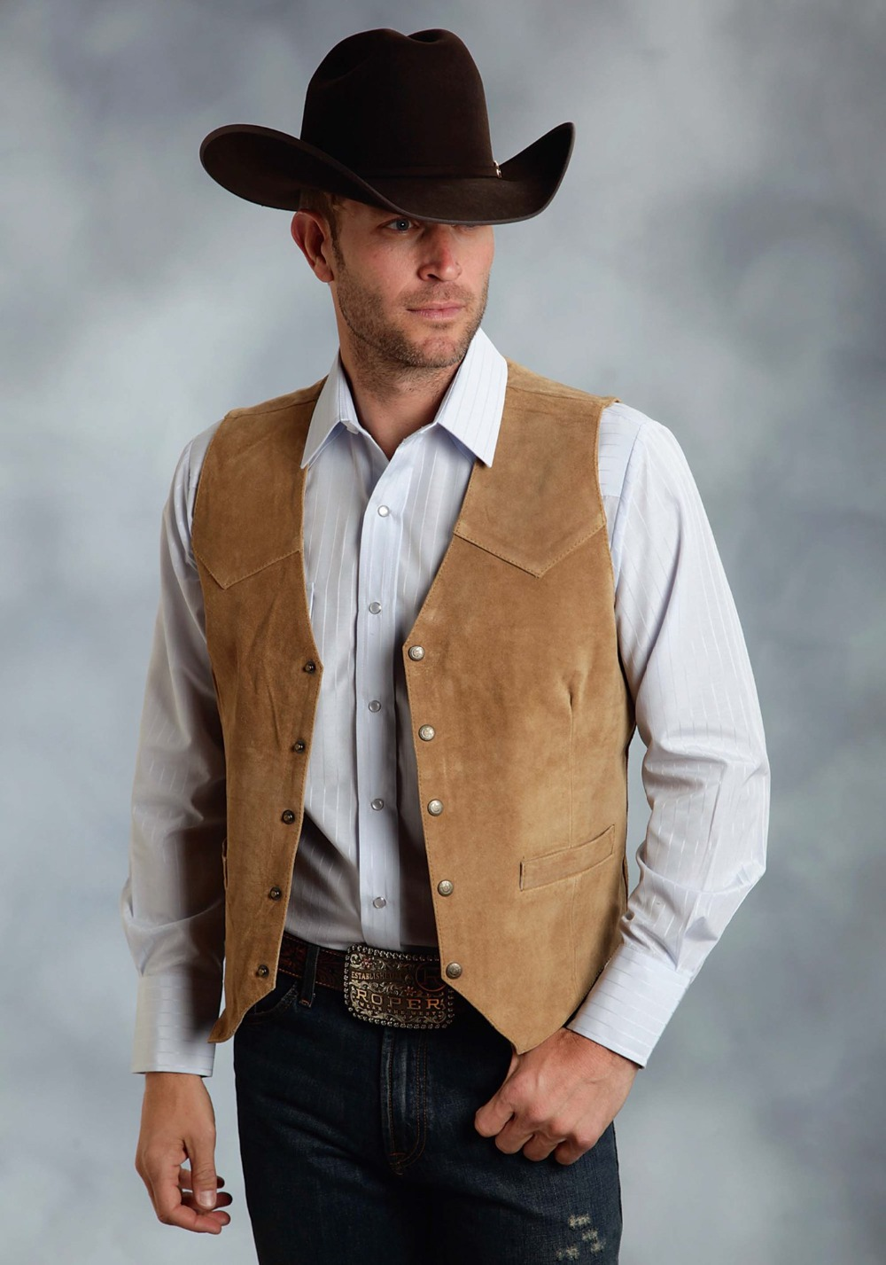 Roper Mens Brown Silky Cow Suede Leather Embossed Snap Western Vest