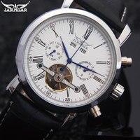 Jaragar Tourbillon האוטומטי מכאניים שעונים לוח שנה מותג מזדמן אופנה שעון עור שחור לבן בנד Relogio Masculino