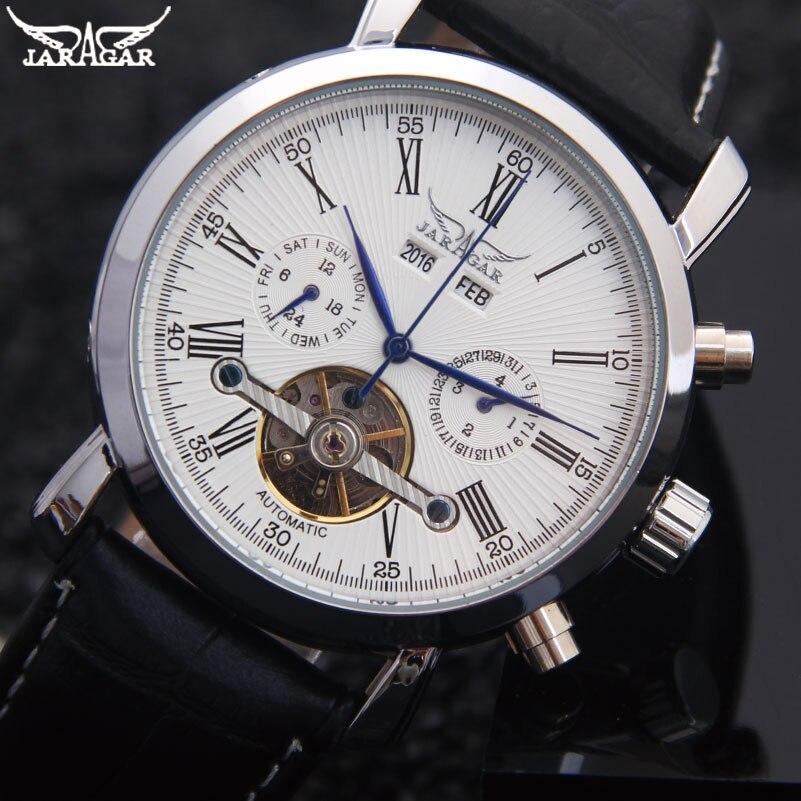 Jaragar Tourbillon Automatische Mechanische Uhr Mode Lässig Marke Kalender Uhren Weiß Schwarz Lederband Relogio Masculino