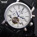 Jaragar tourbillon automatic relógio mecânico moda casual marca calendário relógios branco preto pulseira de couro relogio masculino