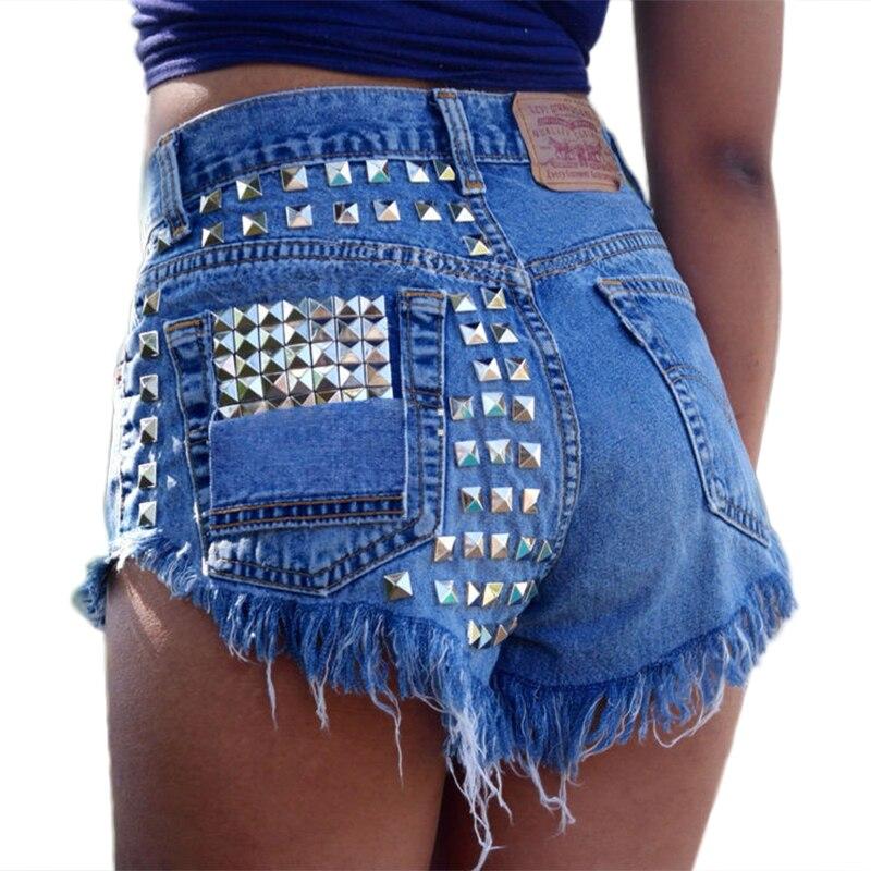 1993 Vintage Rivet High Waist Denim Shorts Women Tassel Ripped Loose Short Jeans Punk Sexy Hot