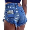 1993 Vintage Rivet High Waist Denim Shorts Women Tassel Ripped Loose Short Jeans Punk Sexy Hot Summer Fashion Short Pants AI101