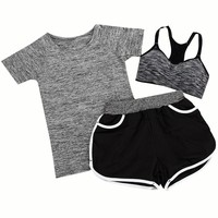 New 3 Pieces Women Cropped T Shorts Shirt + Vest Sets Tops Summer