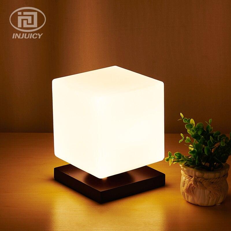 Простой Японии современные реальные деревянная настольная лампа Cube Стекло настольные лампы Спальня прикроватные исследование Офис Рестор...