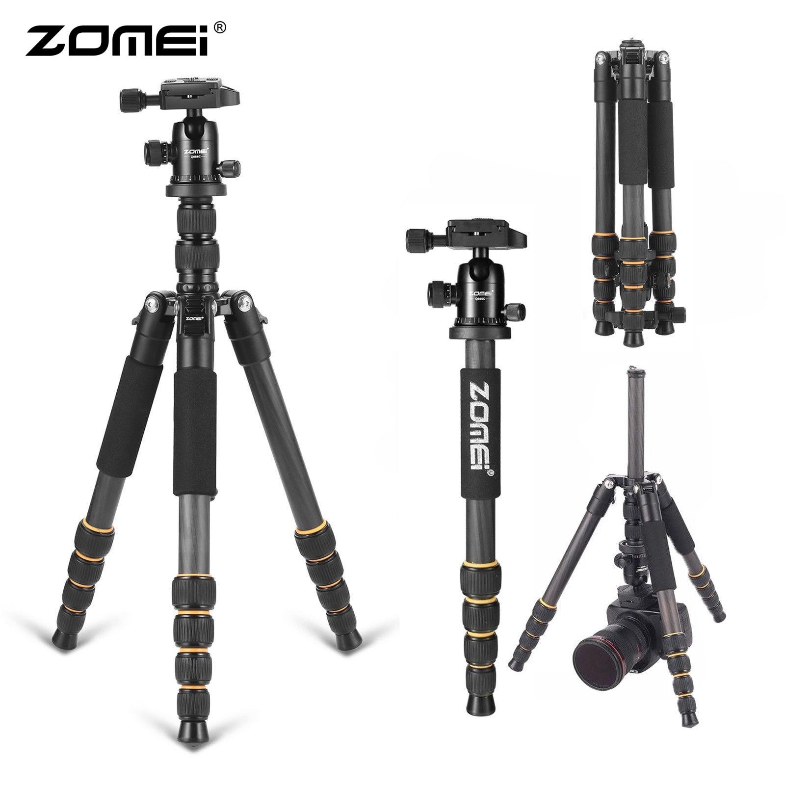 ZOMEI Tripode Q666C trépied photographique Flexible en Fiber de carbone trépied professionnel pour téléphone DSLR appareil photo support monopode Smartphone