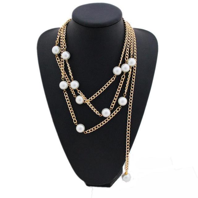 12d8a6a5da CirGen Fashion Women Gold Color Multi layer Choker Chain Big Faux Pearl  Pendant Bijoux Statement Collar Necklace Jewelry,D77