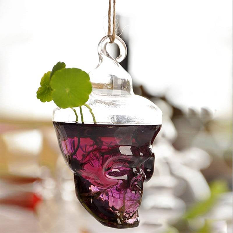 Skull shape flower vases hanging glass vases flower pots planters home decoration wedding decoration holiday gifts Ваза