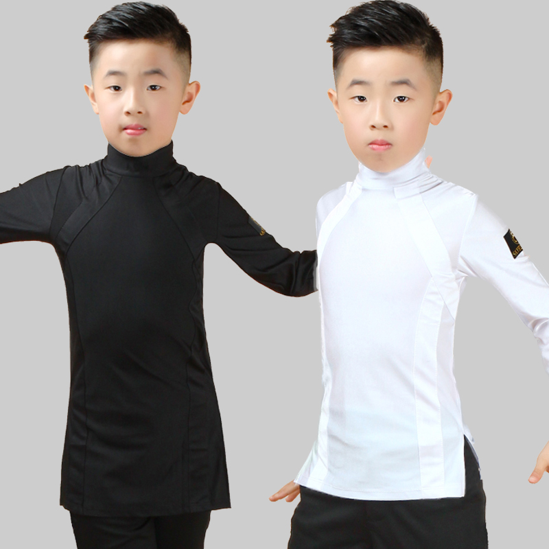 Latin Dance Top Long Sleeve Boys Latin Dancing Shirts Competition Performance Wear Children Samba Salsa Practice Clothing DN2678