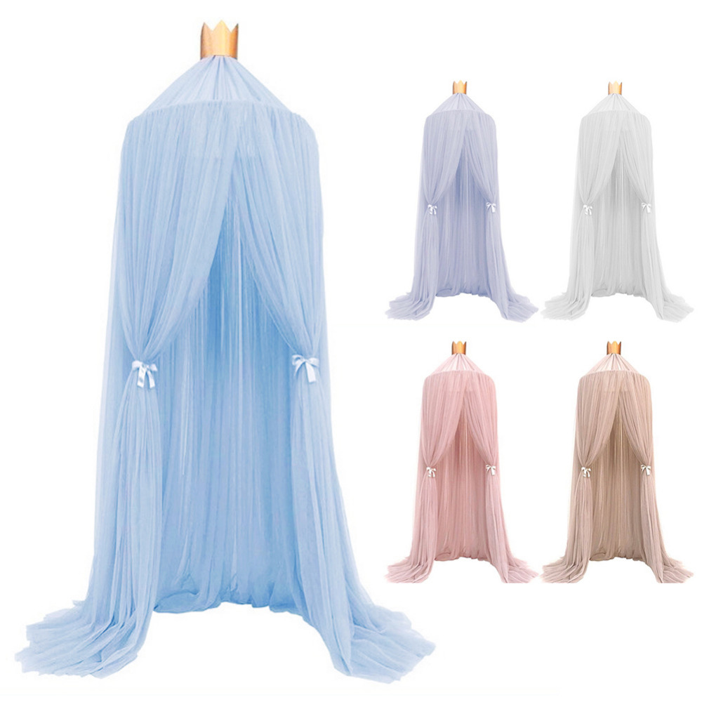 Kid Crib Netting Canopy Bed Curtain Round Dome Hanging Mosquito Net Curtain Play Tent Bedding for Baby Kids Playing Reading Home double door type crib yurt netting larger space baby bed canopy travel kids camping mesh tent folding easily baby mosquito net
