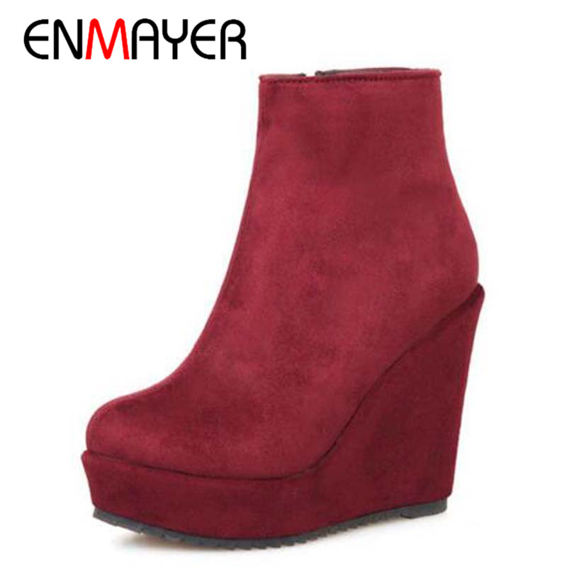 Online Get Cheap Brown Suede Wedge Ankle Boots -Aliexpress.com ...