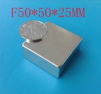 Free Shipping Wholesale 50X50X25MM Magnets 1pcs Pack Super Strong Powerful NdFeB Magnet Neodymium Magnets 50 50