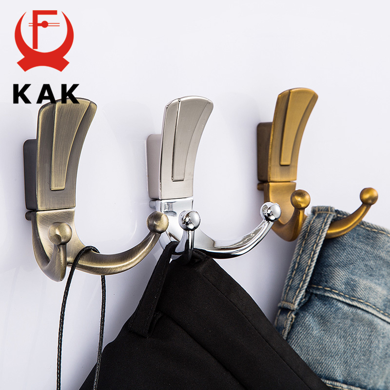 KAK Fashion Bathroom Wall Hangers 2 Hooks Robe Coat Wall Hooks Wall Mounted Clothes Hanger Racks With Screws Furniture Hardware