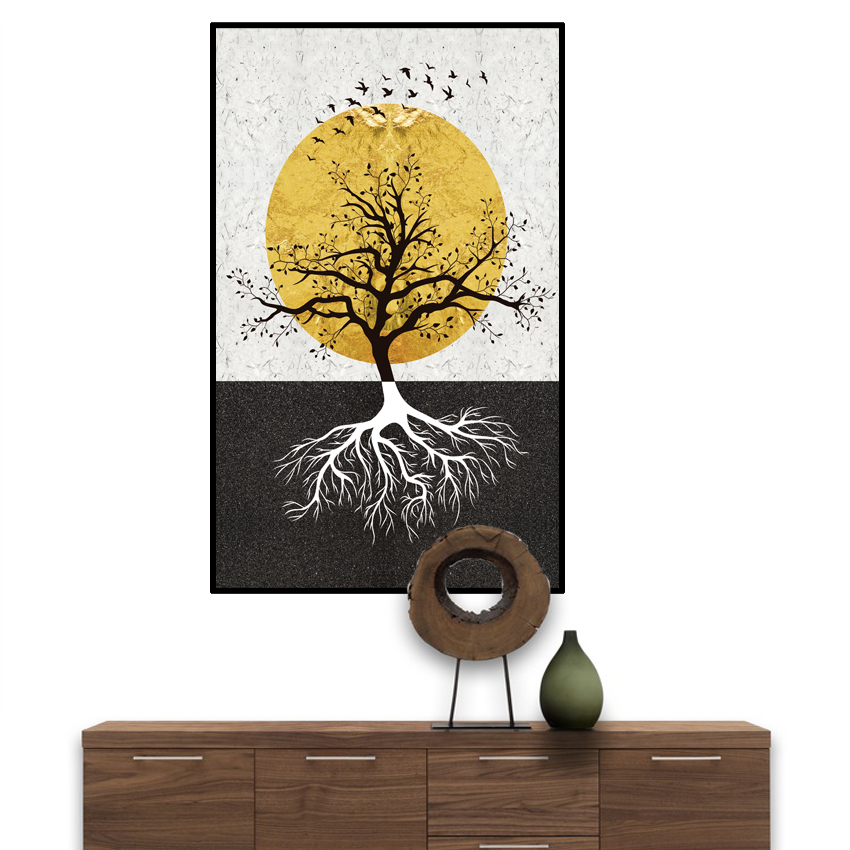 Fashion Black Tree in White Canvas or PVC Painting Plant Poster Print Wall Art For Living Room Abstract Cuadros Decoracion Salon in Painting Calligraphy from Home Garden