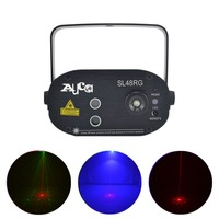 AUCD Mini Remote Control 48 Gobos Red Green Laser Projector Lights Mix 3W Blue LED DJ Home Party Show Stage Wash Lighting SL48RG