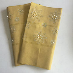 Gold yellow headtie flower pattern aso oke headtie with stones and beads hot selling fashion design stones headtie gele