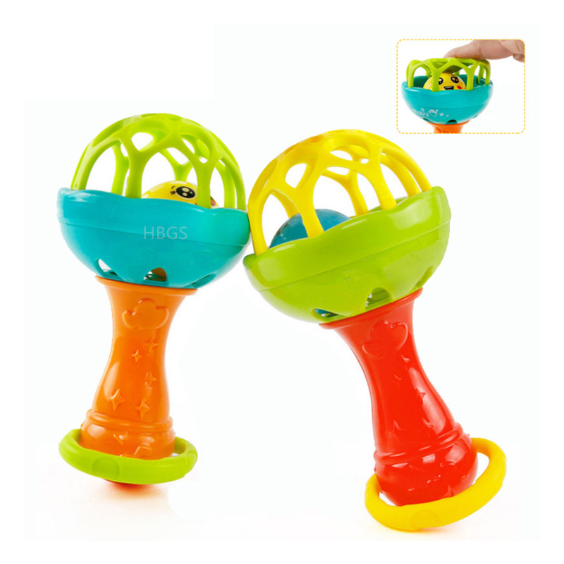 Baby Rattles Mobiles Fu Ny Toy Intelligence Grasping Gums Plastic Hand Bell Rattle Infant Toys Birthday Gifts