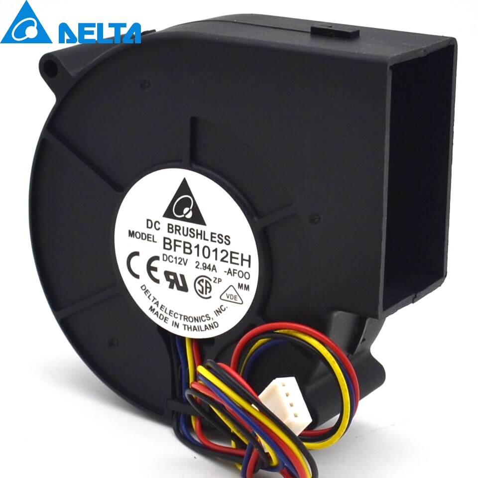 BFB1012EH 9733 12V 2.94A 9cm 4wire double ball air fan centrifugal turbine blower 9cm 4wire free delivery delta oven special ventilation fan centrifugal turbo blower bfb1012h 9733 12 v 1 20 a